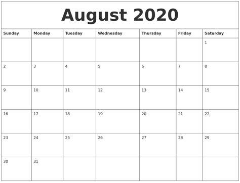 august  calendar print