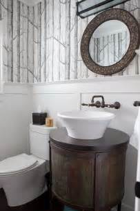 Gray Chair And A Half Wonderfully Wallpapered Powder Rooms Homedesignboard