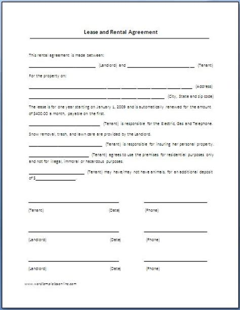renters lease agreement template rental agreement template free printable documents