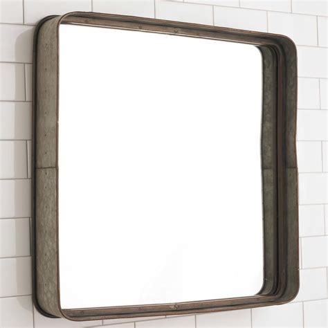 Metal Bathroom Mirrors Metal Galvanized Squared Mirror Bath Light Frame Mirrors And Industrial Style