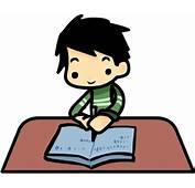 Clip Art Of A Boy Sitting At Desk Writing In Book