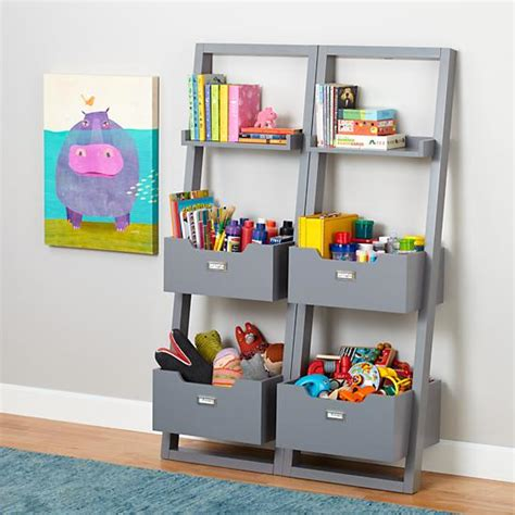 sloane leaning bookcase grey the land of nod