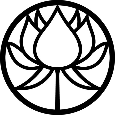 circle lotus flower silhouette free vector pattern