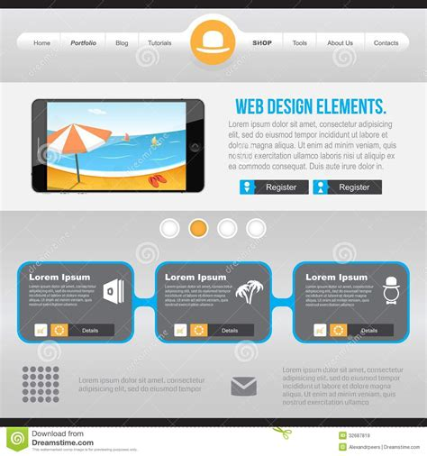 homepage design elements flat web design elements royalty free stock images image