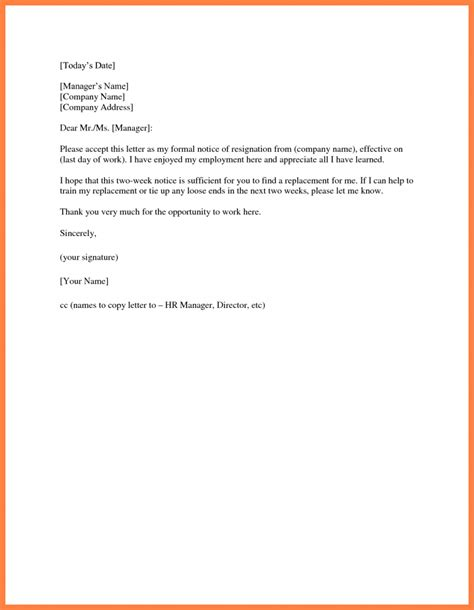 two 2 week notice resignation letter exles of simple