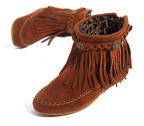 s fringe moccasin boots us5 9 suede leather like moccasin fringe tassel ankle