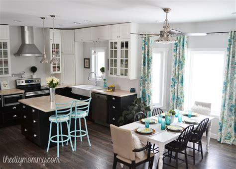 Ballard Designs Curtains a black white and turquoise diy kitchen design with ikea