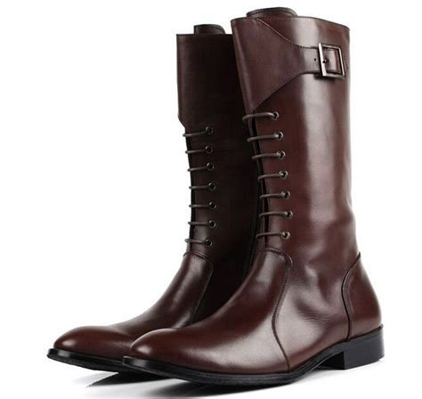 high quality fashion 2015 mens knee high boots shine black