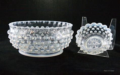 vintage white hobnail glass l antique blue opaline glass hobnail service bowls retro