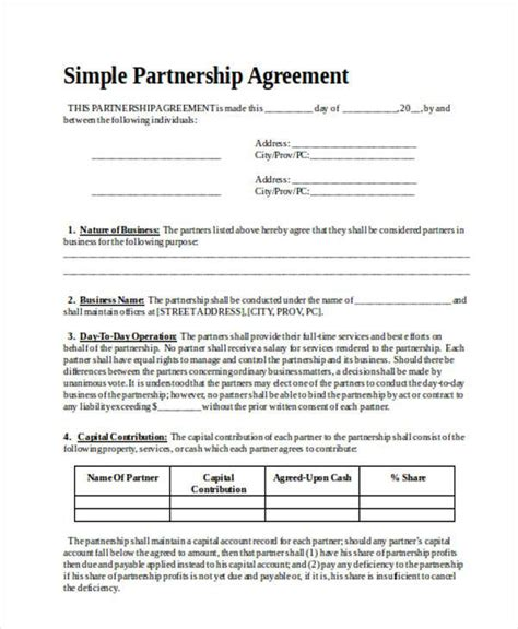 sle business partnership agreement simple partnership agreement template free 28 images