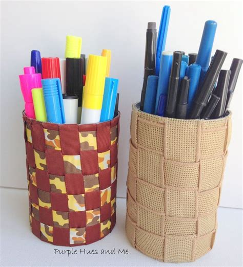 how to make pen and pencil holders from recycled tin cans