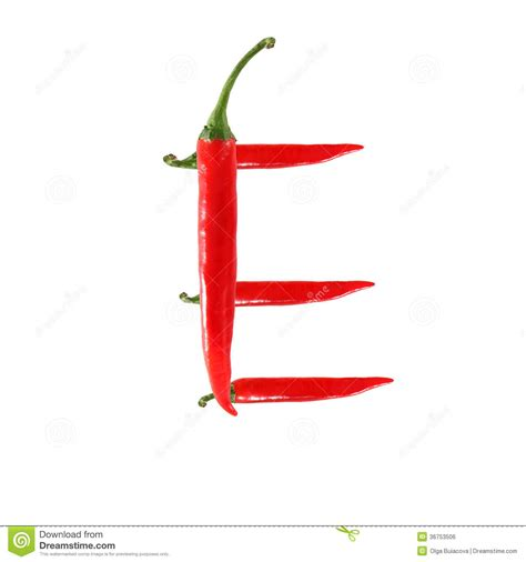 hot pepper 7 letters font made of hot red chili pepper isolated on white
