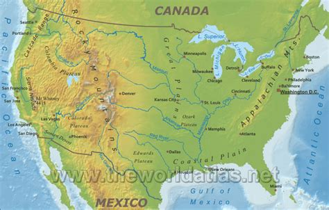 map usa mountains physical map of the united states rivers and mountains