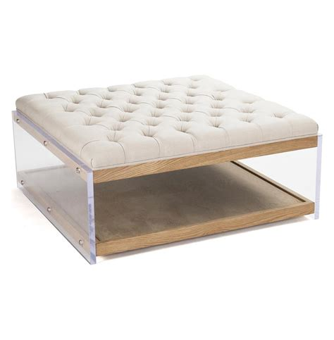 Cocktail Ottoman Square Linen Regency Wood Acrylic Cocktail