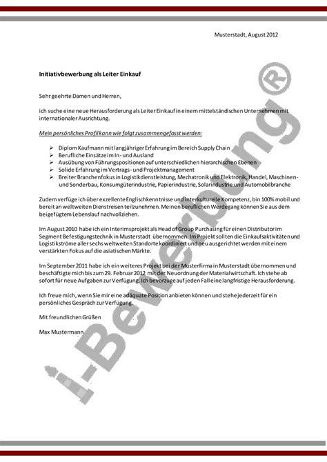 Initiativbewerbung Anschreiben Muster Pdf Anschreiben Beispiel Initiativbewerbung Leiter Einkauf