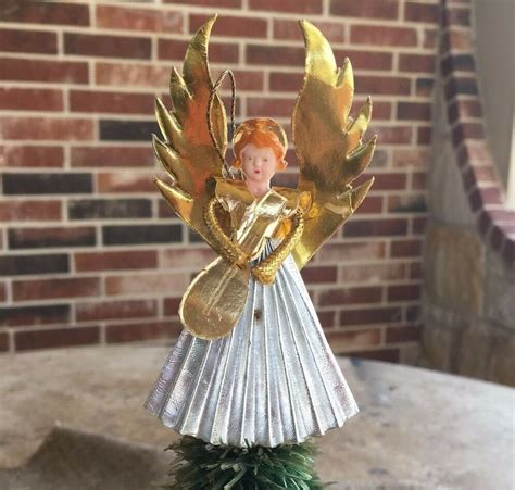 feather tree topper vintage german musician play mandolin feather tree topper celluloid ebay
