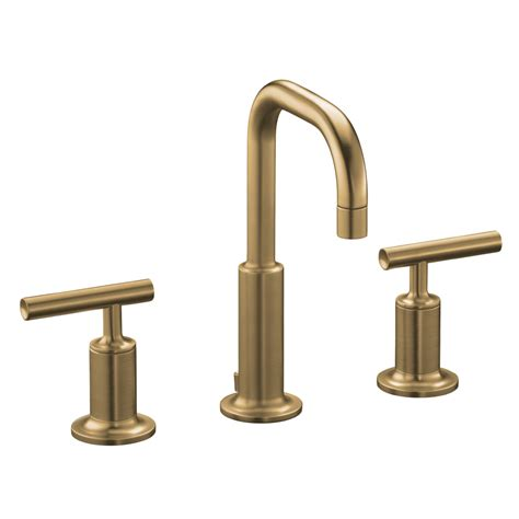 gold faucets bathroom shop kohler purist vibrant brushed bronze 2 handle