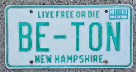 Nh Vanity Plate by Nh New Hshire Vanity Pnp License Plate Be Ton