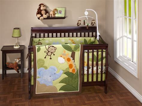 Baby Nursery Decor Monkey Elephant Giraffe Picture Jungle Themed Nursery Bedding Sets