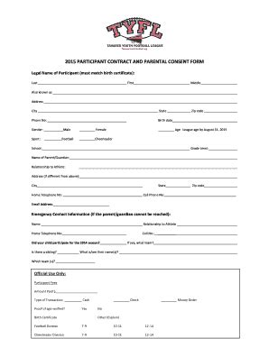 football contract template parents consent form for football fill printable