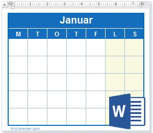 gratis  kalender ms word