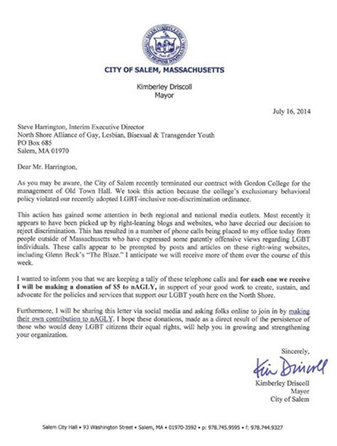 College Letter Phone Salem Mayor Uses Negative Calls Gordon College Decision To Raise Money For Nagly The