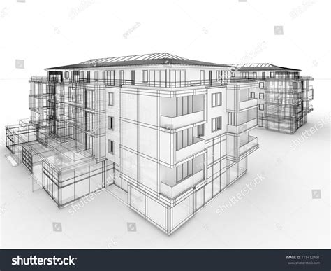 apartment building design concept architects computer generated visualization in drawing style
