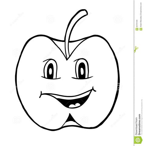 smiling apple coloring page apple with smile stock vector image 62791340