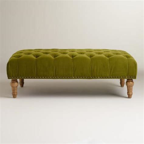 green tufted ottoman apple green marcelle tufted ottoman world market