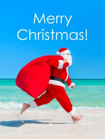 santa   beach christmas card birthday greeting cards  davia