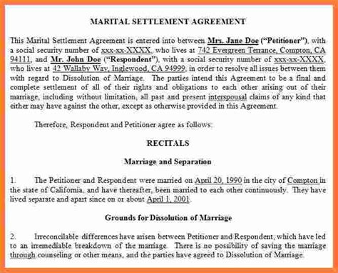 8 Marital Settlement Agreement California Marital Settlements Information Marital Settlement Agreement Template