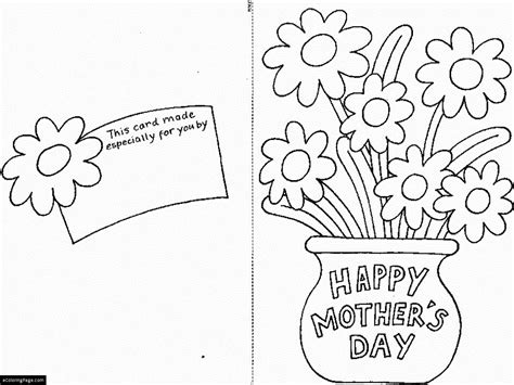happy mothers day printable coloring page and cut out card