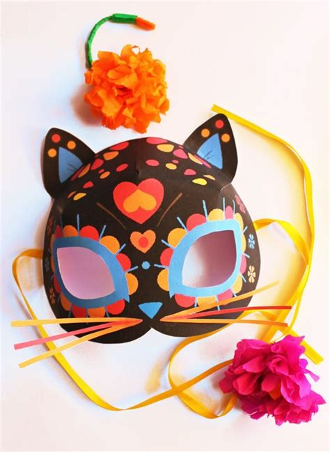 day of the dead mask template day of the dead cat mask tutorial easy costume and