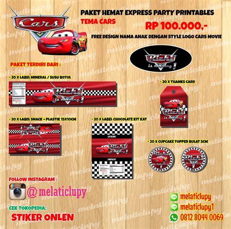 Stiker Label Nama Mix Karakter Paket B Stationery Sekolah jual paket hemat express stiker label untuk ulang tahun anak tema cars stiker onlen