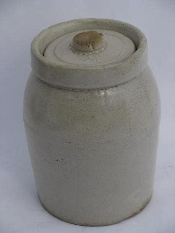 primitive antique crock jars  stoneware pottery crockery canisters