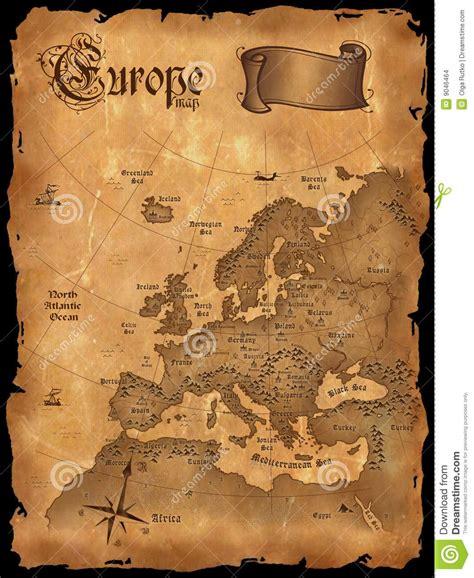 vintage europe map vertical stock illustration