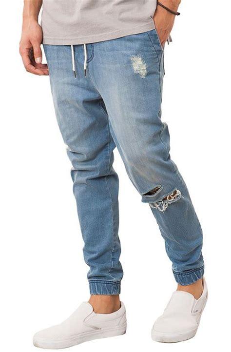 light blue jean joggers elwood the distressed denim jogger in medium wash