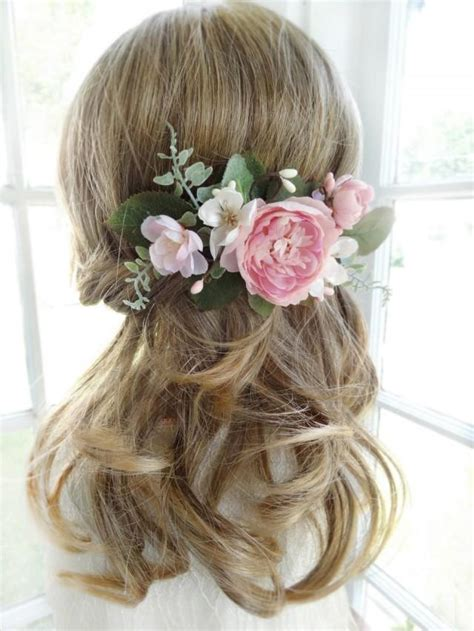 Garden Wedding Hairstyles For Bridesmaids by Bridal Hair Comb Pink Flower Hair Clip Wedding Headpiece
