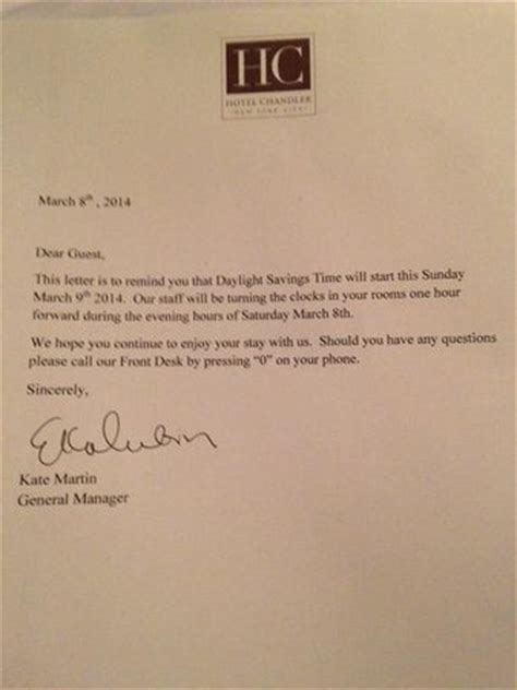 Excellent Service Letter Excellent Customer Service Letter Informing Us Of Dst Clock Change Picture Of Hotel Chandler