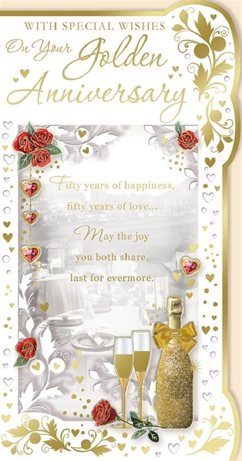 Golden 50th Wedding Anniversary Card   Champagne, Hearts