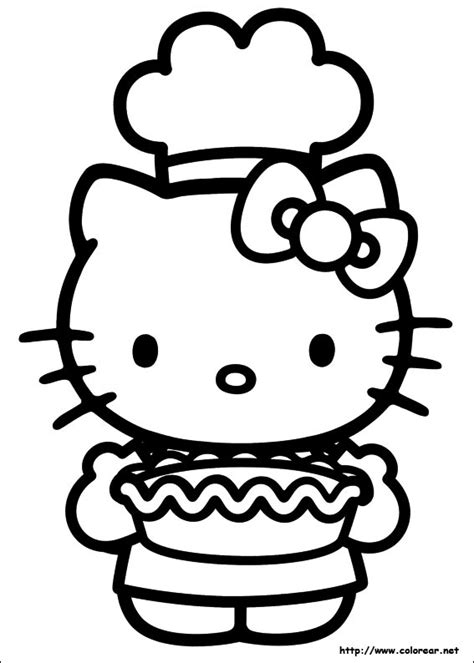 hello kitty baking coloring pages dibujos para colorear de hello kitty