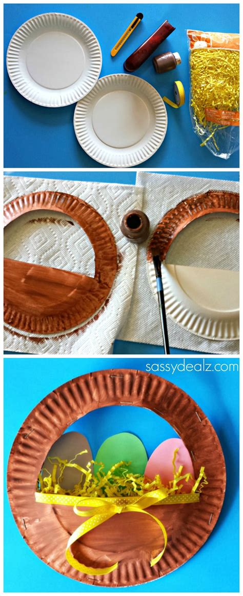 Paper Plate Basket Craft - 3d paper plate easter basket craft for