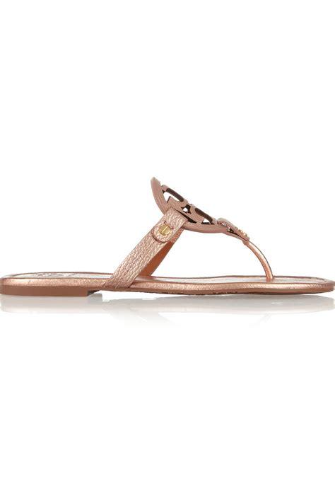 burch pink sandals lyst burch miller metallic leather sandals in pink