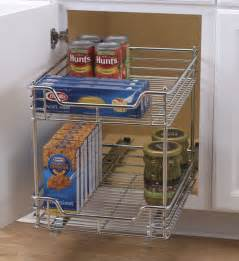 chrome two tier sliding cabinet organizer pantry and
