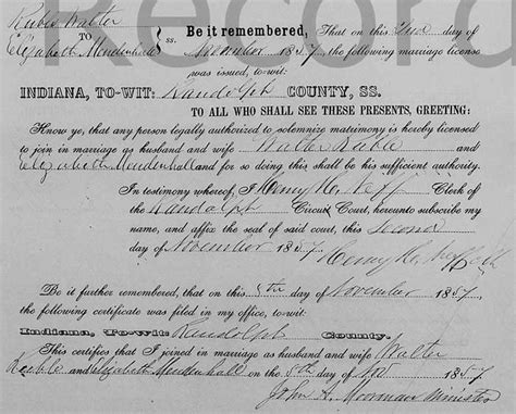 Randolph County Marriage Records Walter Ruble And Wright