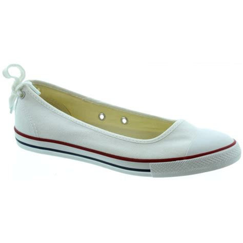 flat converse shoes converse dainty ballerina flat shoes in white in white