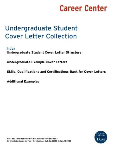 career center cover letter undergraduate student cover letter collection