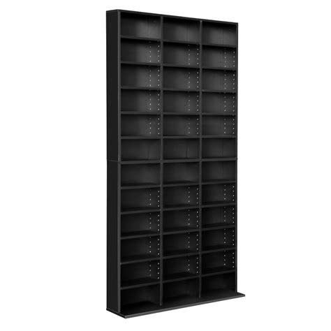 music book storage cabinet adjustable cd dvd book storage shelf black