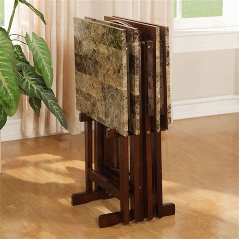 linon home decor tray table set faux marble brown linon tray table set faux marble top brown frame with