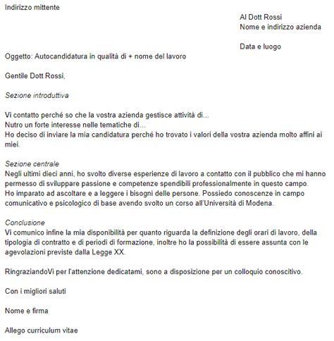 lettere di autocandidatura esempio di lettera di presentazione per chi cerca lavoro